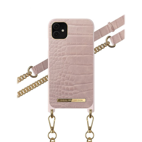 iPhone 11 / XR iDeal of Sweden Necklace Hardcase Hülle - Misty Rose Croco