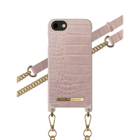 iPhone 6/6s/7/8/SE 2020 iDeal of Sweden Necklace Hardcase Hülle - Misty Rose Croco