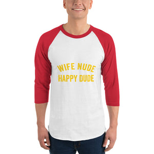 Wife Nude Happy Dude 3/4 Sleeve Shirt - Absolute Badass
