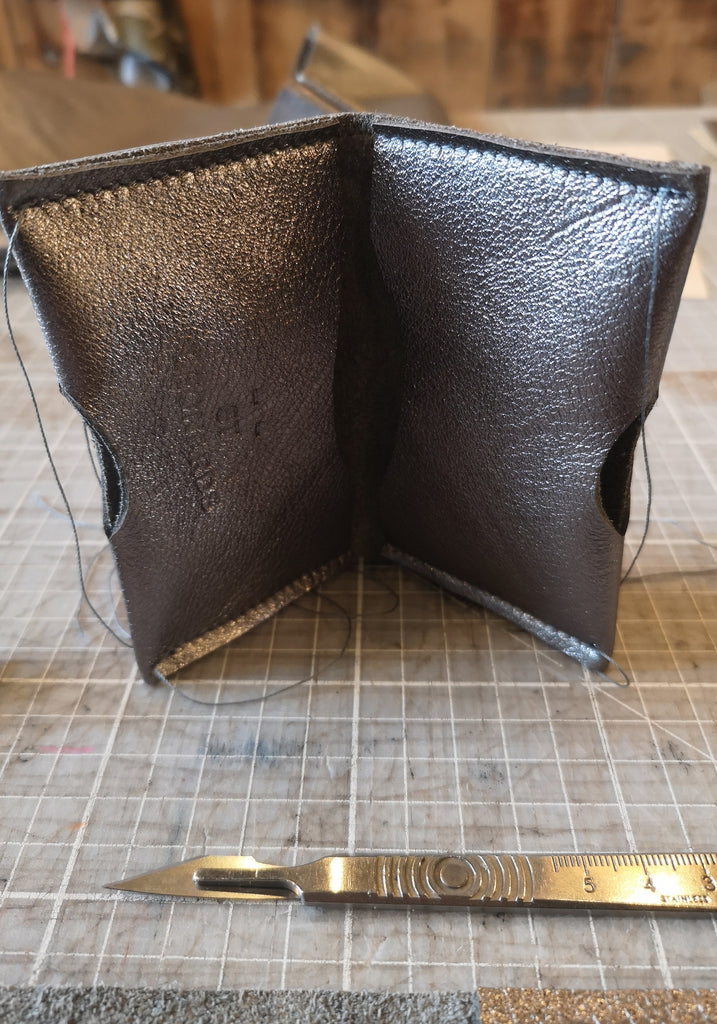 Pewter metallic leather cardholder wallet