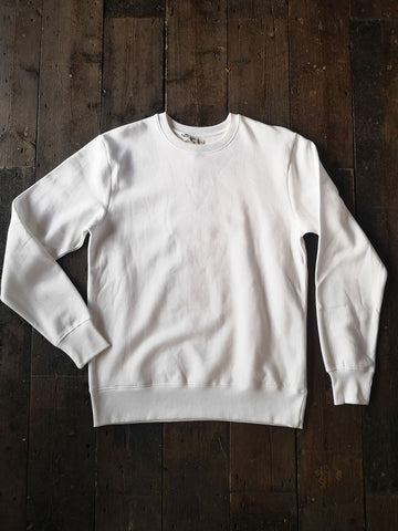 WHITE ORGANIC COTTON SWEATSHIRT
