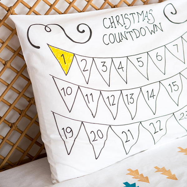 Coloured Advent Calendar Pillowcase
