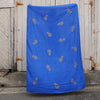 Royal blue 100% Linen throw with gold screen printed pineapples