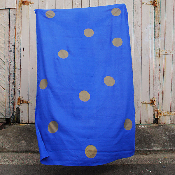 Royal blue 100% Linen throw with gold screen printed spots