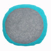 round Fair Trade turquoise and grey 'Lola' crocheted cushion with inner, 100% cotton
