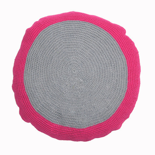 round Fair Trade pink and grey 'Lola' crocheted cushion with inner, 100% cotton