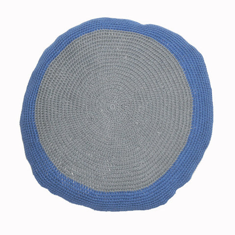 round Fair Trade blue and grey 'Lola' crocheted cushion with inner, 100% cotton