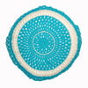 round Fair Trade turquoise 'Joy' crocheted cushion with inner, 100% cotton