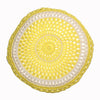 round Fair Trade sunshine yellow 'Joy' crocheted cushion with inner, 100% cotton