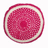round Fair Trade pink 'Joy' crocheted cushion with inner, 100% cotton