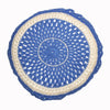 round Fair Trade blue 'Joy' crocheted cushion with inner, 100% cotton