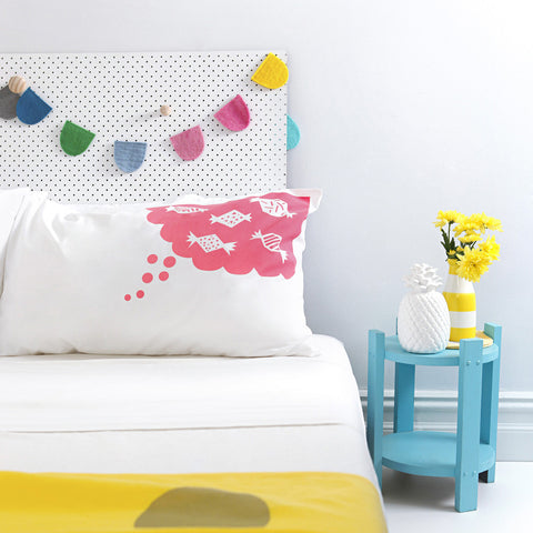 Watermelon pink hand screen printed 'Sweet Dreams' pillowcase perfect for the design savvy kid