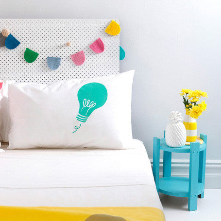 Mint green hand screen printed 'Lightbulb' pillowcase perfect for the design savvy kid