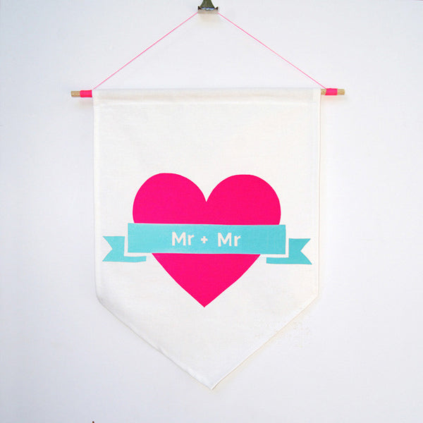Marriage equality Mr + Mr hand screen printed neon cotton flag hung on dowel rod