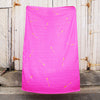 Hot pink 100% Linen throw with gold screen printed arrows