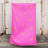 Hot pink 100% Linen throw with gold screen printed pineapples