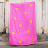 Hot pink 100% Linen throw with gold screen printed spots