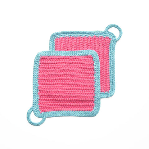 Pink/Turquoise Crocheted Square Pot Holder