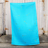Turquoise 100% Linen throw with gold screen printed arrows