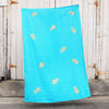 Turquoise 100% Linen throw with gold screen printed pineapples