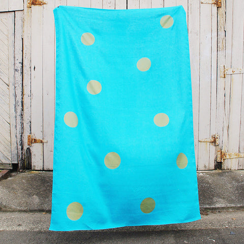 Turquoise 100% Linen throw with gold screen printed spots