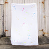 White 100% Linen throw with neon screen printed arrows