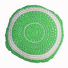 round Fair Trade lime green 'Joy' crocheted cushion with inner, 100% cotton