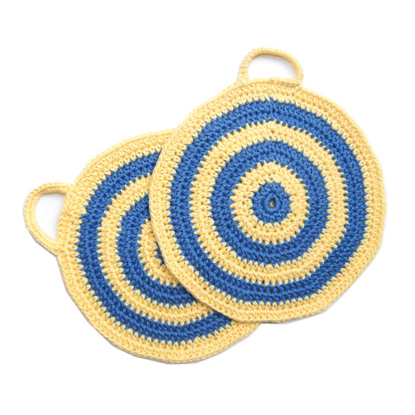 Blue/Yellow Bullseye Crocheted Pot Holder