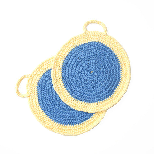 Blue/Yellow Crocheted Cotton Pot Holder