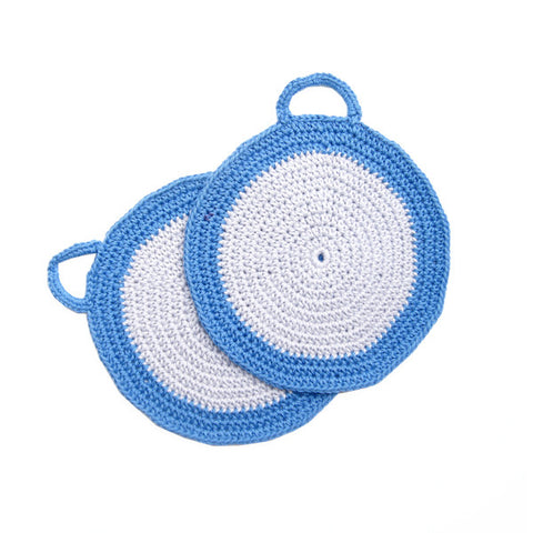 Grey/Blue Crocheted Cotton Pot Holder
