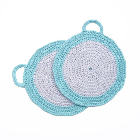 Grey/Turquoise Crocheted Cotton Pot Holder
