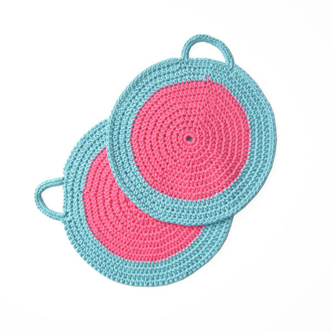 Pink/Turquoise Crocheted Cotton Pot Holder