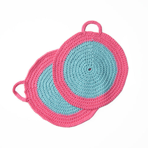 Turquoise/Pink Crocheted Cotton Pot Holder