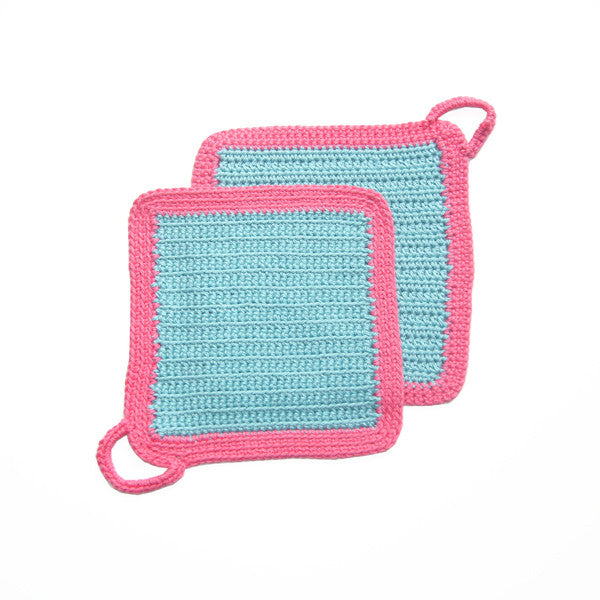 Turquoise/Pink Crocheted Square Pot Holder