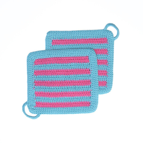 Turquoise/Pink Crocheted Small Striped Pot Holder