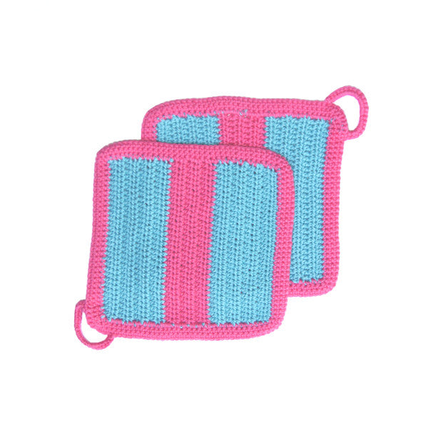 Copy of Turquoise/Pink Crocheted Large Striped Pot Holder