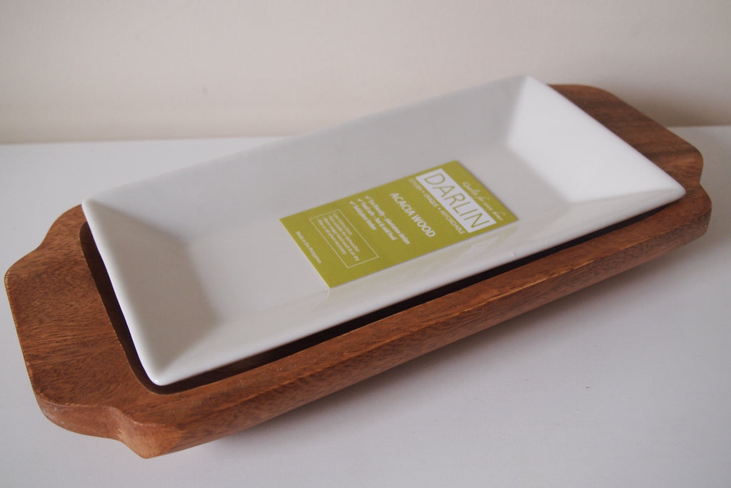 Acacia Tray with Ceramic Plate