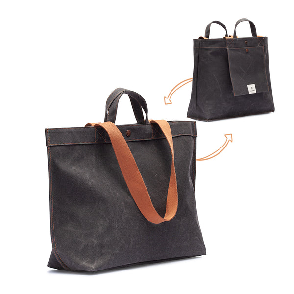 No. 204 Large Tote Black Truffle (REVERSIBLE)