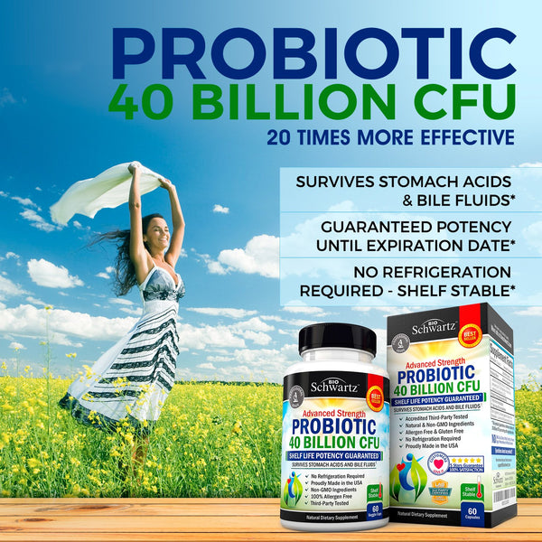 Probiotic 40 Billion CFU. Guaranteed Potency until Expiration