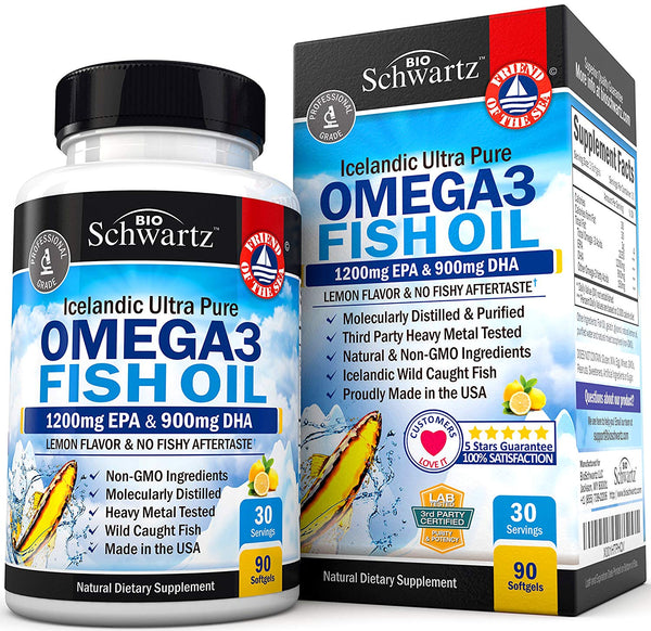 Omega 3 Fish Oil Supplement – Immune & Heart Support Benefits– Promotes Joint, Eye, Brain & Skin Health - Non GMO Triglyceride Softgels