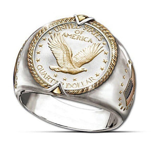 USA Military Ring Silver Badge Eagle