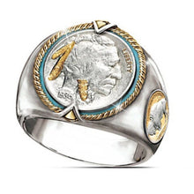 Load image into Gallery viewer, USA Military Ring Silver Badge Eagle