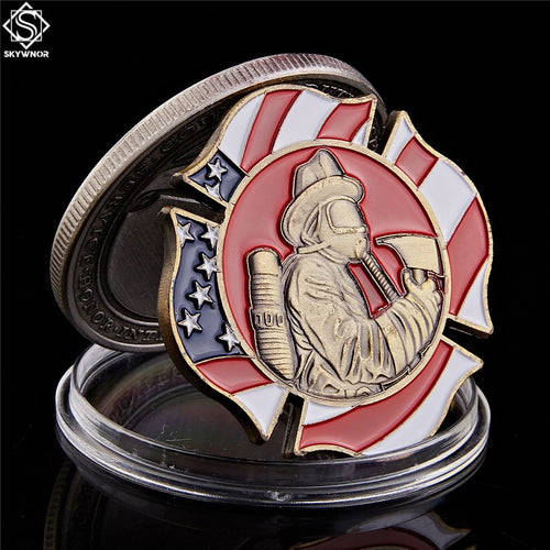 US Flag Duty Honor Fire Rescue FireFighter Commemorative Challenge Coin Medal Collectible