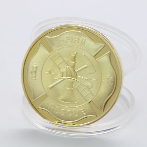 US Flag Duty Honor Fire Rescue Gold Coin