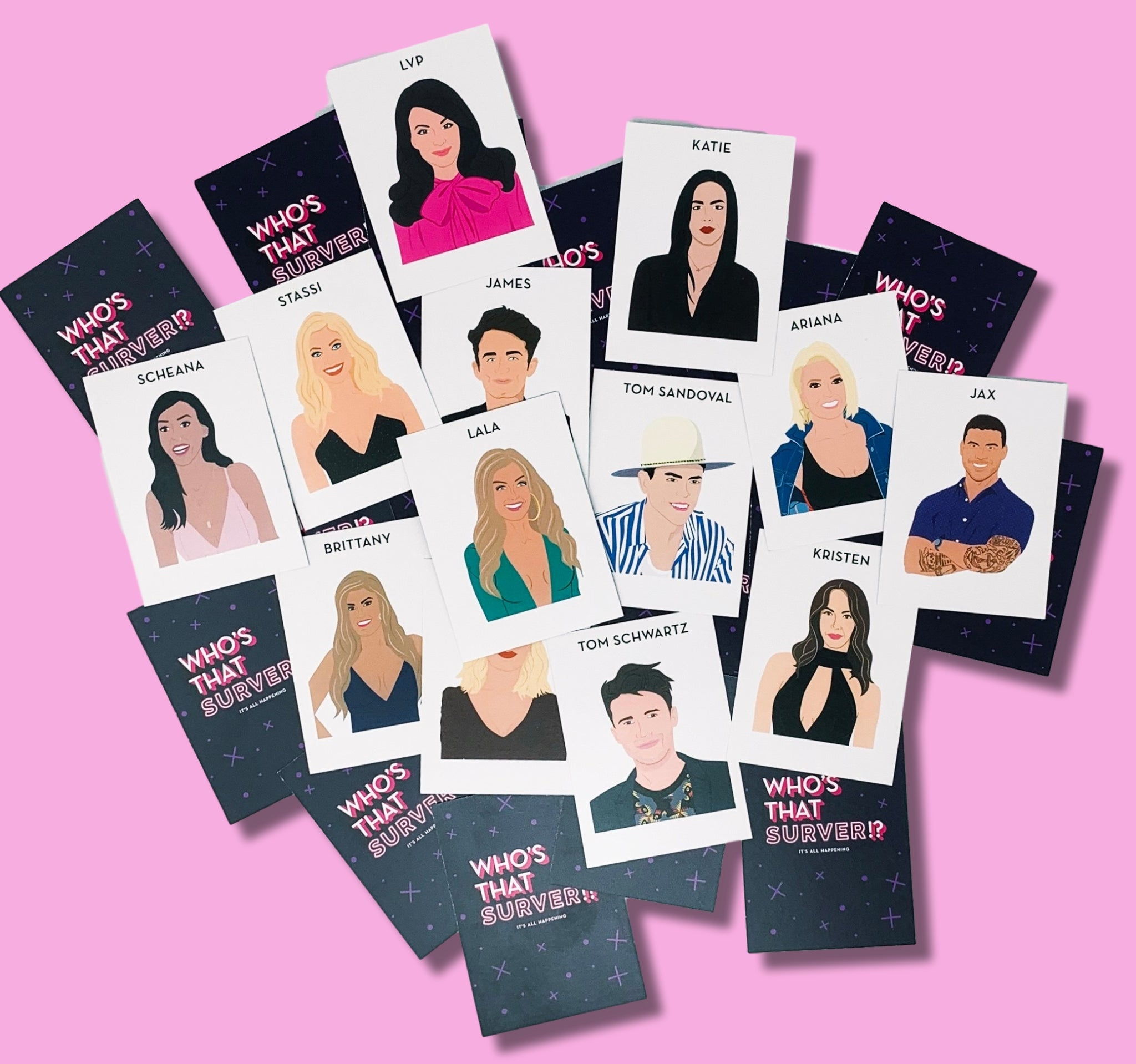 Vanderpump rules party game illustrations of cast stassi, lvp, tom sandoval, jax, scheana, katie, lala, brittany, kristen doute