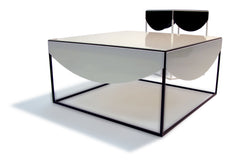 white drape coffee table