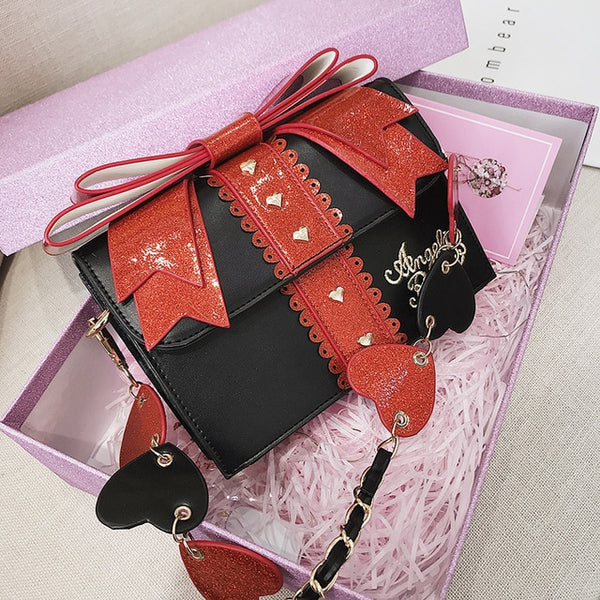 Ita Fashion Cute Bow Shoulder Sweet Red Handbag Leather
