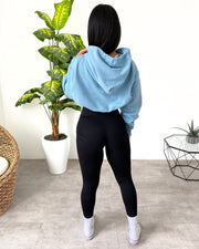 Oversized Cropped Hoodie (Light Blue)