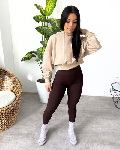 Oversized Cropped Hoodie (Light Beige)