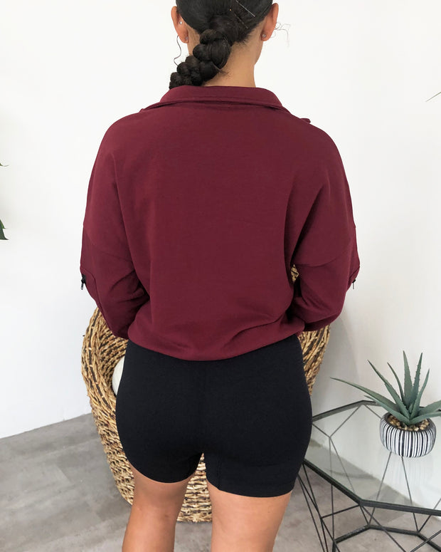 Vintage Pocket Pullover (Burgundy)